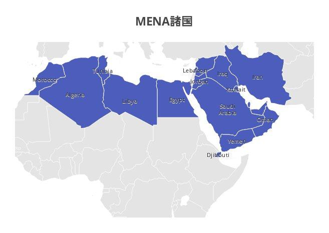 世界銀行によるMENA定義に属する国